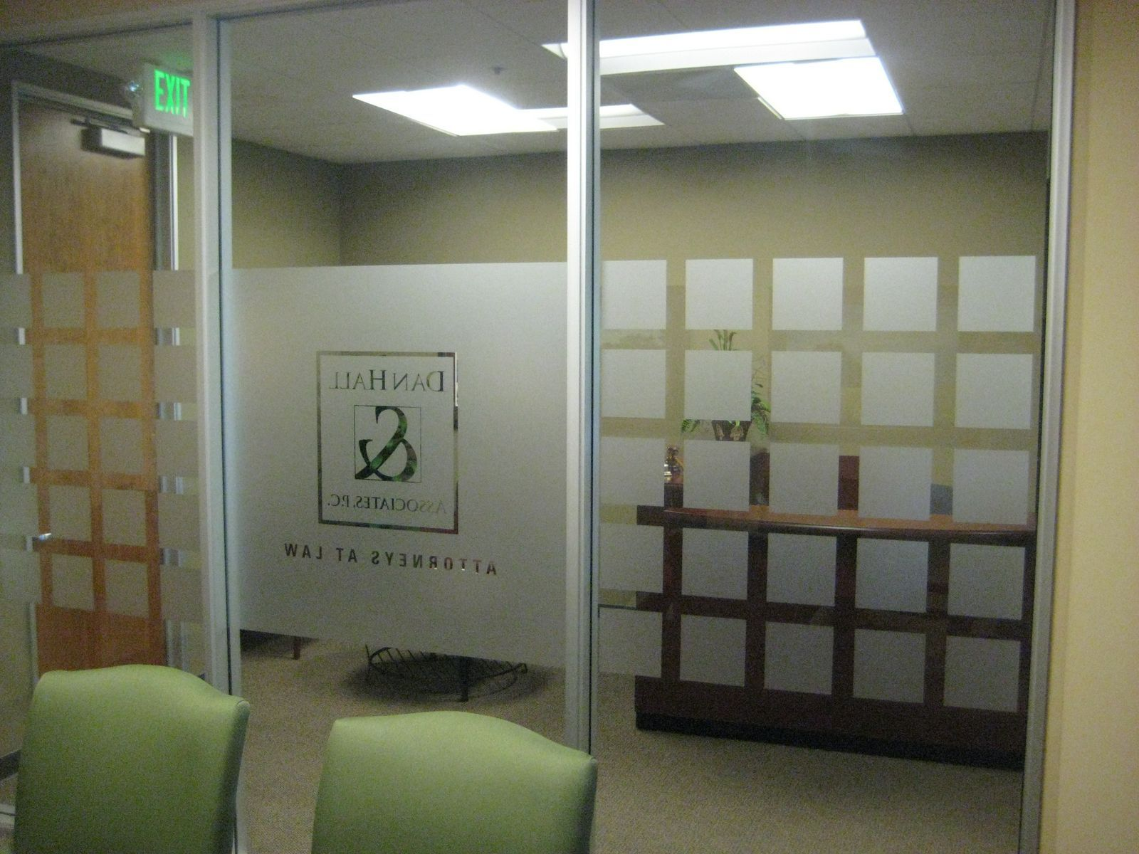 frosted glass logo wall
