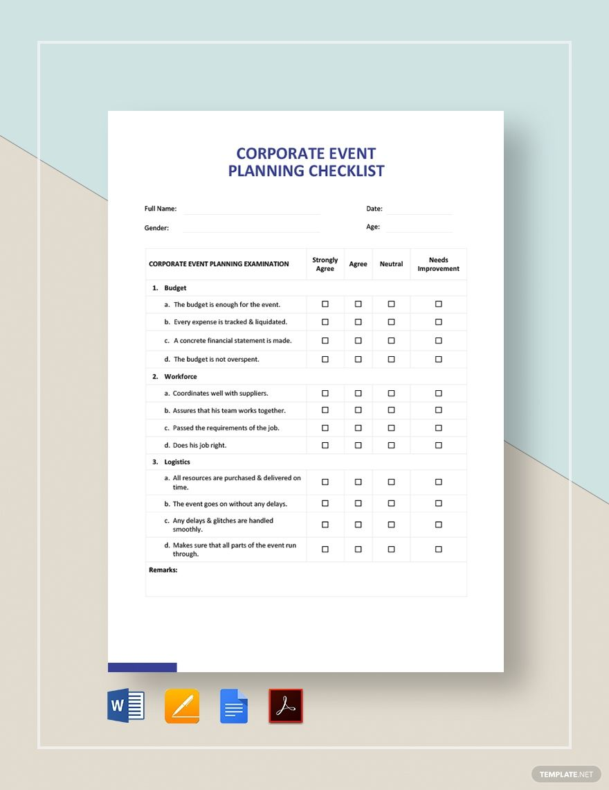 Corporate Event Planning Checklist Template Free Pdf Google Docs Word Apple Pages Pdf Template Net Event Planning Checklist Event Planning Checklist Templates Corporate Event Planning Event planning template google docs