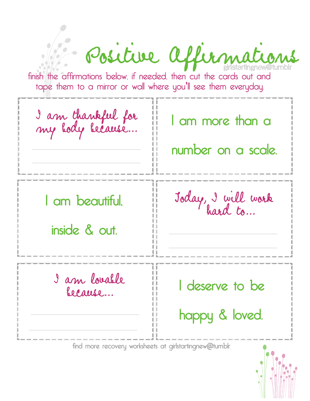 Positive Affirmation Journal Worksheet