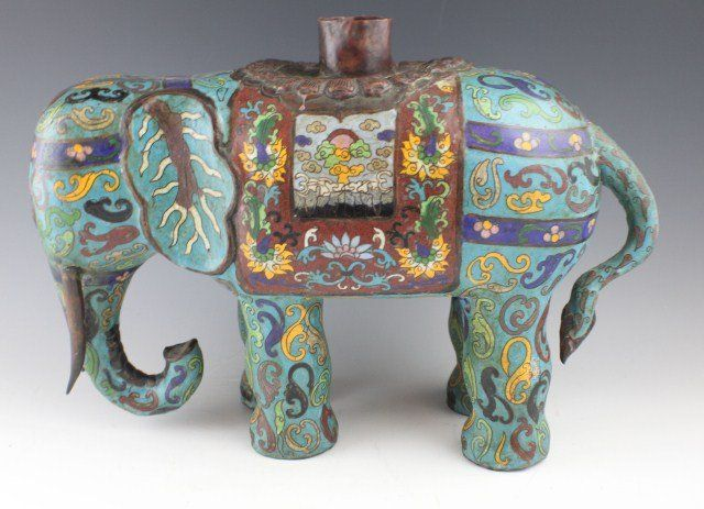 PAIR OF EARLY 20TH C CHINESE CLOISONNE ELEPHANTS