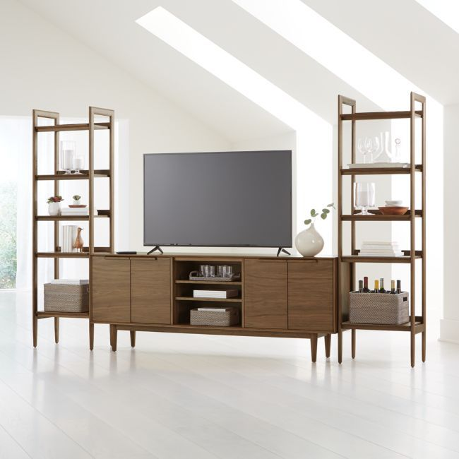 Tate Walnut 80 Media Console With 2 Bookcases Crate And Barrel