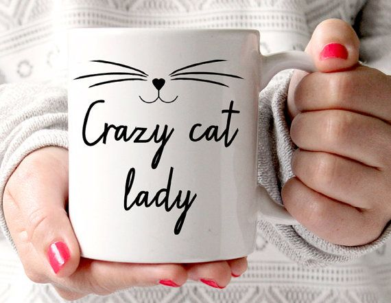 Verrückte Katzendame Becher oder verrückte Katze Mann, Drucke, Pfote Kätzchen Becher, Katzengesicht, Geschenke für sie und ihn #coffeecups