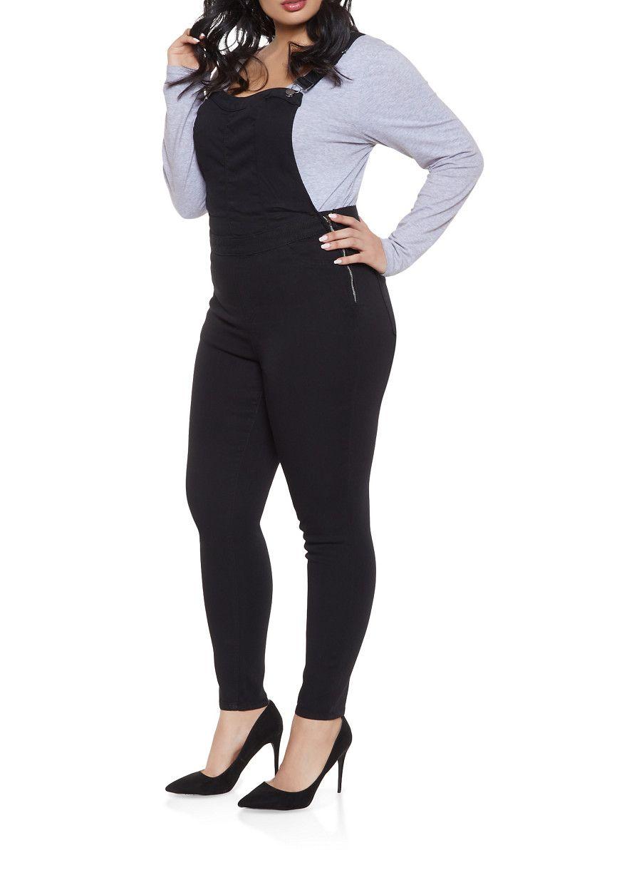 a55de9426bed4 Plus Size Almost Famous Denim Overalls - Black - Size 16