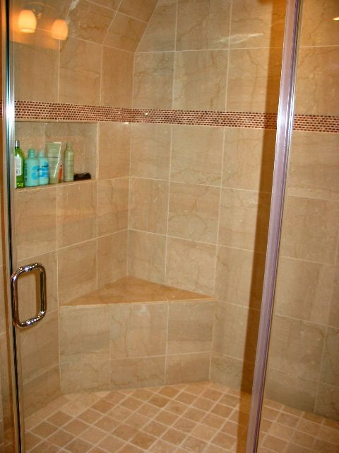 photos of tiled shower stalls | Shower stall with built-in bench ...