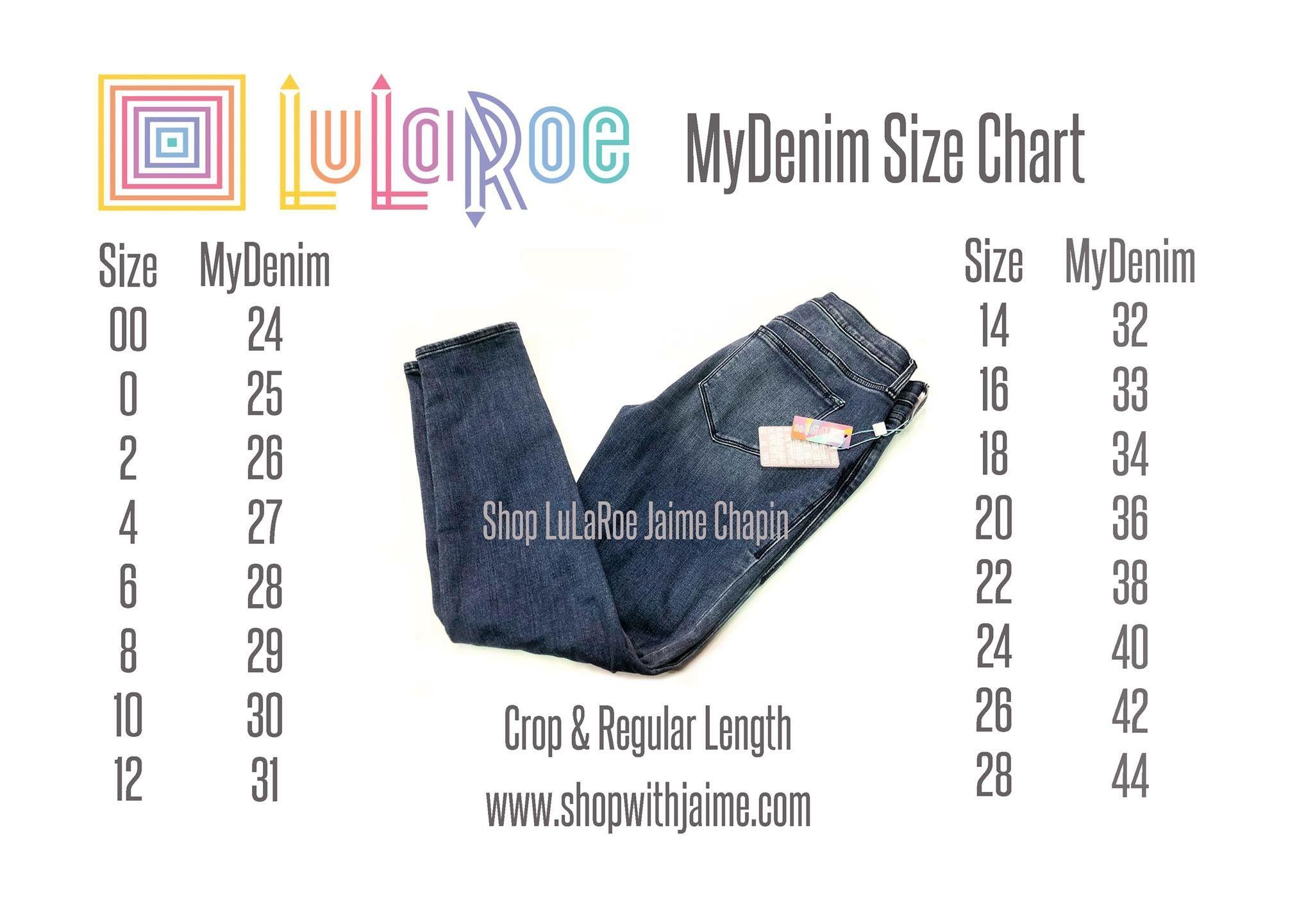 Lularoe Mydenim Size Chart Lularoe Size Chart Lularoe Jeans Lularoe