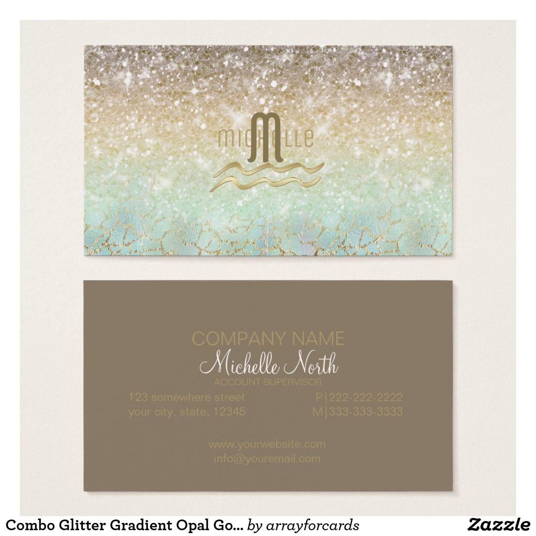 Combo Glitter Gradient Opal Gold Business Card A sparkling glitter ...