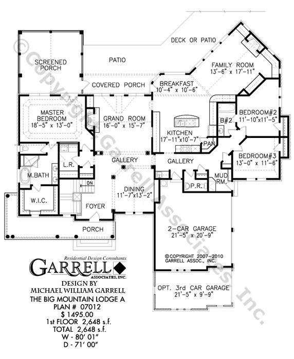 Big Mountain Lodge House Plan 07012,1st Floor Plan, Ranch Style ...