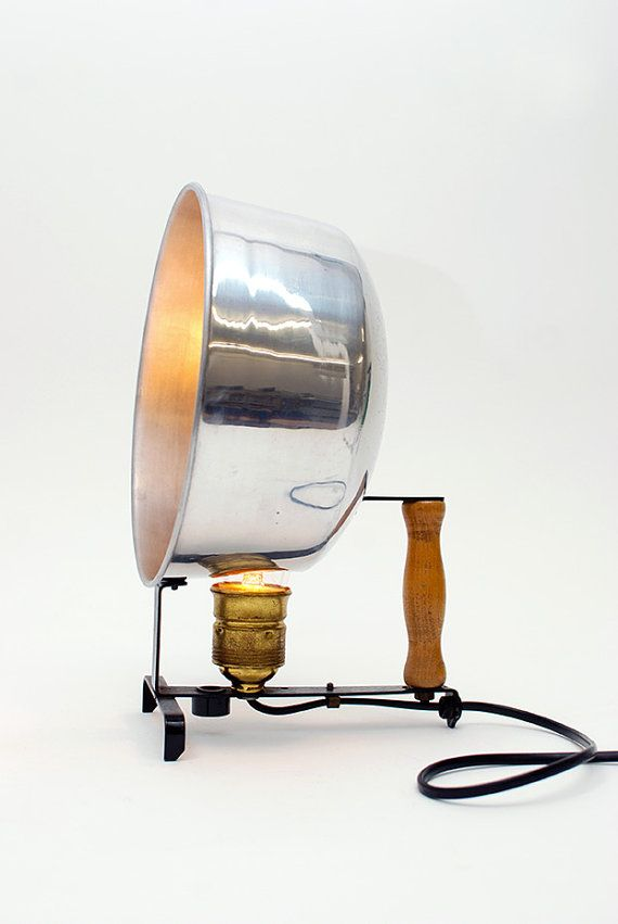 "table lamp in metal, aluminium and wood :""baladeur"" 