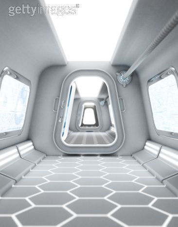A Futuristic Hallway Possibly Aboard A Space Ship Or Space
