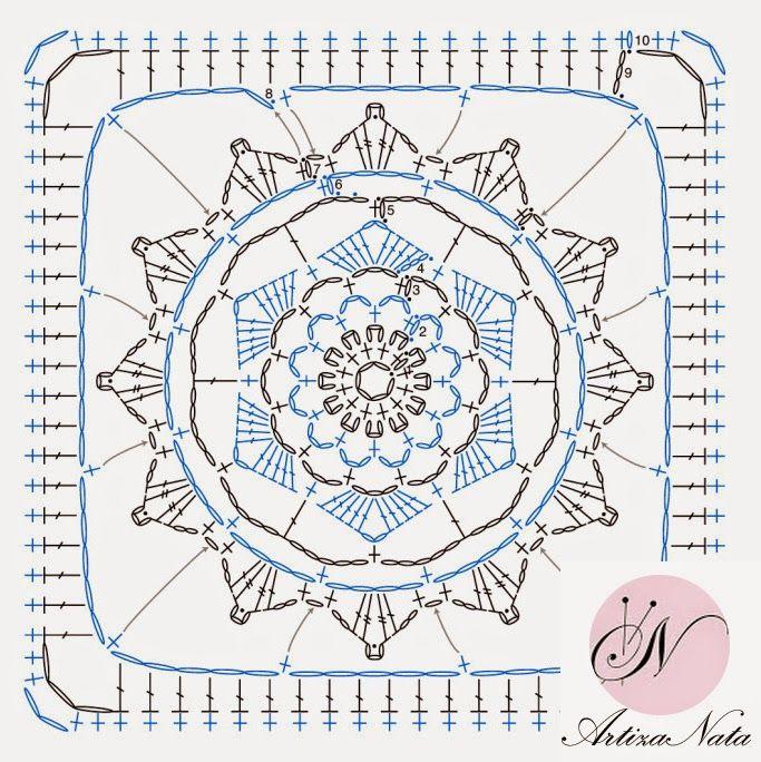 ArtizaNata: Square crochet blok №8 / Схема квадратного мотива ...