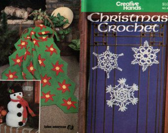 Christmas Crochet booklet of patterns Ornament snowflakes Stockings Snowman Reindeer wall hanging, BOOKLET things to make