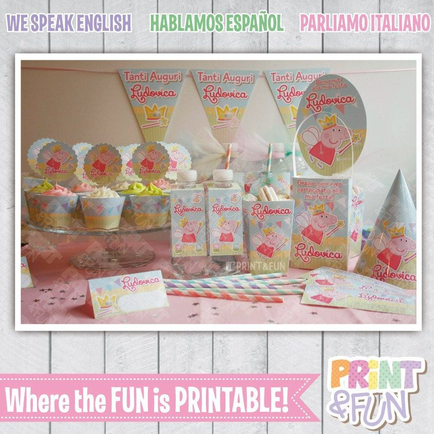 Super Party Kit! Peppa PIG Fairy Princess Party Printable Labels ...