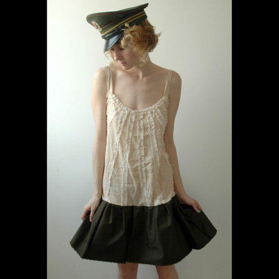Two toned ruffel dress by JunkhouseDollyard on Etsy
