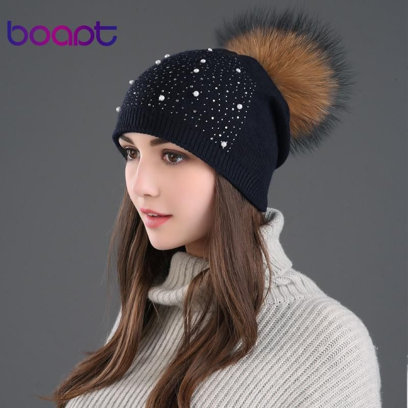 47961784 BOAPT rhinestones diamond pearl double-deck knitted cashmere winter hats  for women cap real raccoon fur pompom hat female beanie