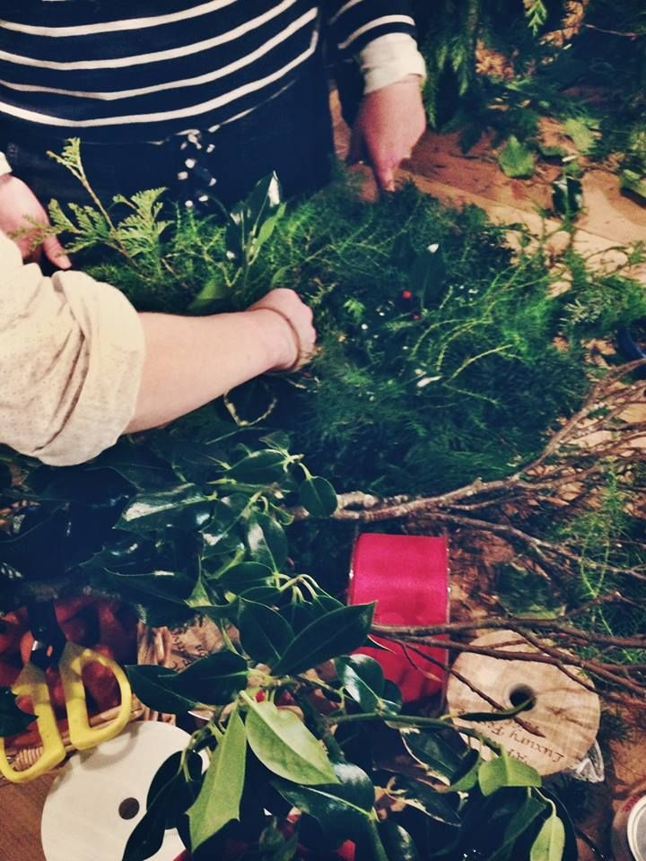 Getting a bit of help with our Christmas wreathes.  http://www.belhavenfruitfarm.co.uk/the-store.aspx