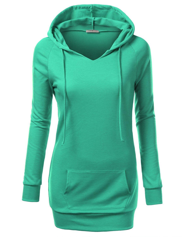 J.TOMSON Womens Long Sleeve Raglan Crewneck Tunic Sweatshirt at ...