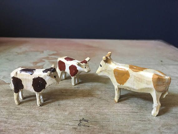 Collection Of Vintage Erzgebirge Miniature Wooden Cows Wood Farm