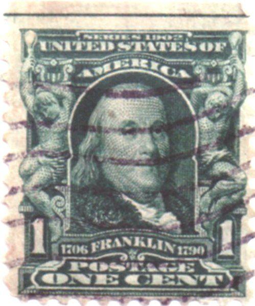 Us Postage Stamp 1 Cent Benjamin Franklin 1706 1790