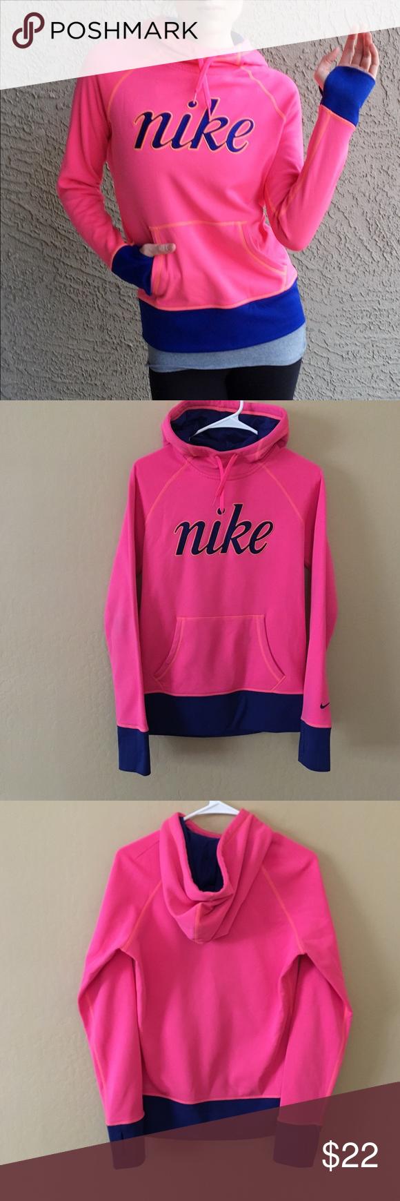 NIKE Hot Pink & Blue Therma Fit Hoodie Workout hoodie