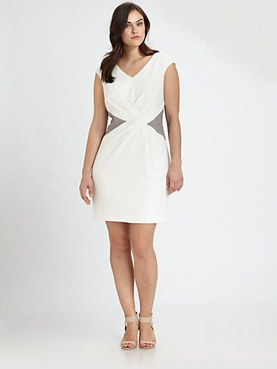 Kay Unger Plus Size Color-Inset Dress - Saks.com | Plus Size Dresses ...