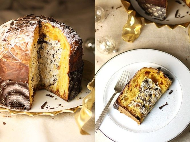 panettone filled with whipped cream chocolate and hazelnuts traditional italian christmas sweet bread is made even more festive with a filling of whipped