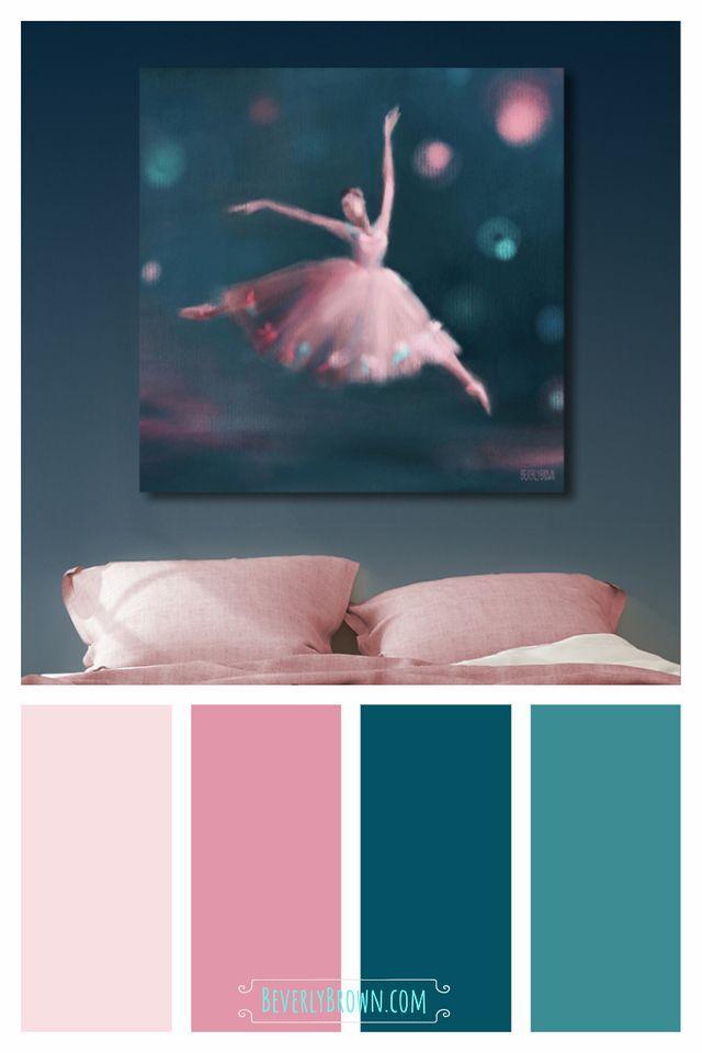 Ballet Dancer Painting Peacock Blue Pink Schlafzimmer