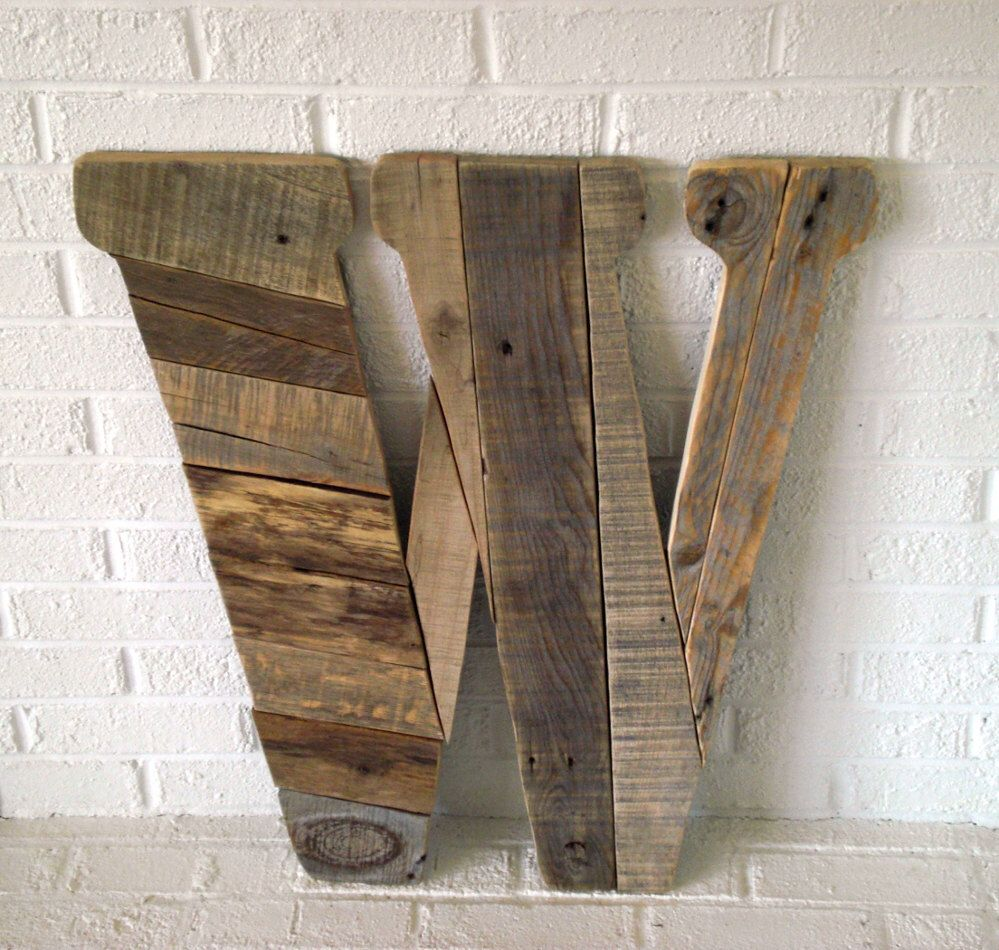 Large Wooden Wall Art wood wall art giant letter w | rustic letters, modern wall art and