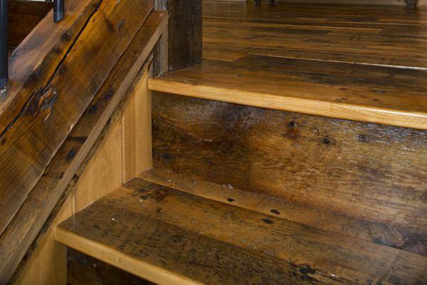 Log Railings Stairs Enterprise Wood Products Wood Railing   Reclaimed Wood Stair Treads   White Oak   Wood Plank   Straight Edge Wood   Lumber   Adhesive Padding 31 Wide Tread Single 10 Deep