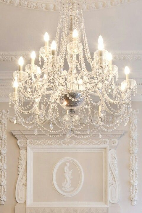 A magical white christmas shabby chandeliers and lights aloadofball Images
