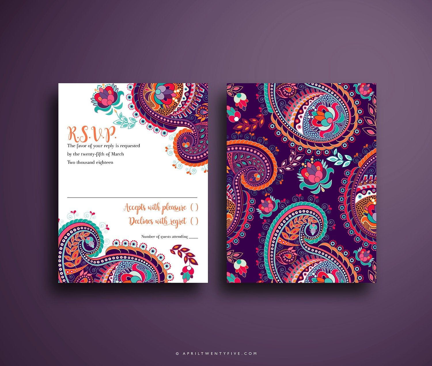 Indian Wedding Invitation Colorful and Festive Pink Purple   Etsy in 2020   Indian  wedding invitations, Printable wedding invitations vintage, Colorful  invitations