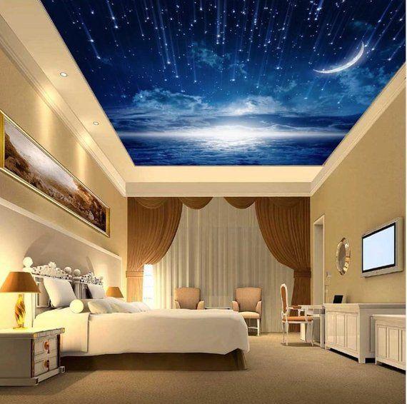 Crescent Moon 3d Ceiling Night Sky 3d Wallpaper 3d Ceiling Mural