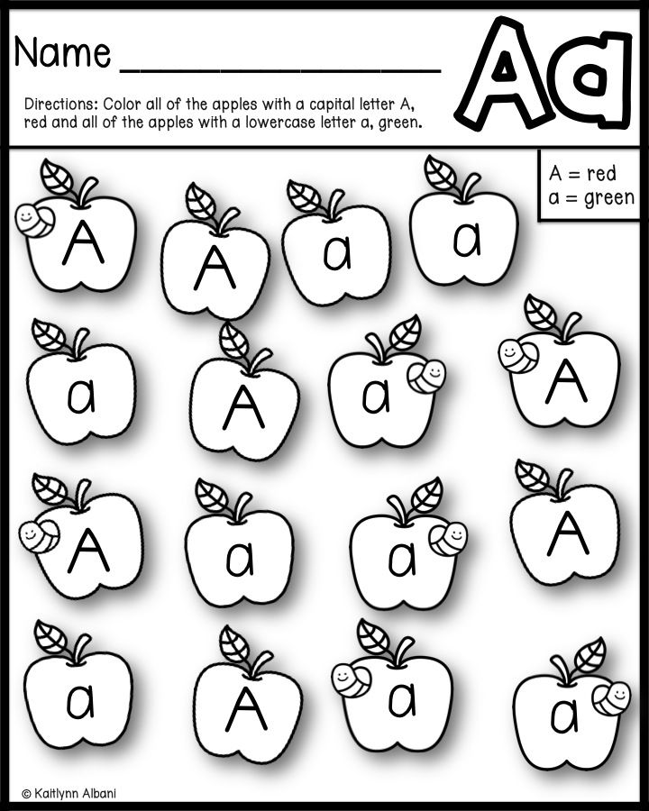 Free Alphabet Practice Pages (apple Themed)