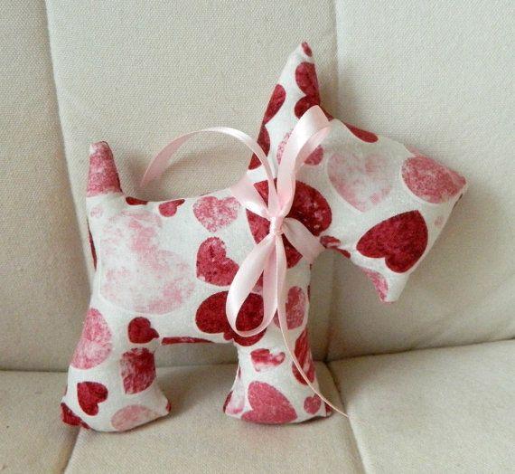 Stuffed Scotty Dog  Valentine's Day  Red by sewcutebylindsay, $5.00