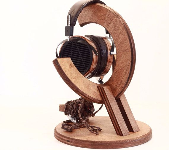 Wood headphone stand multiple headphone by woodwarmth on etsy pierre pinterest - Wooden headphone holder ...