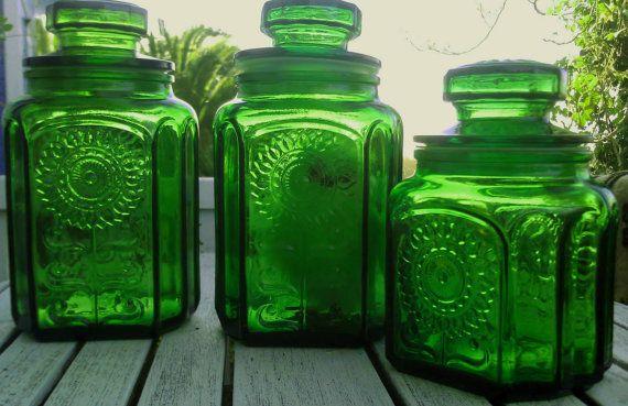 VINTAGE Set of 3 Wheaton NJ Green Glass by eccentriccafesociety, $35.00