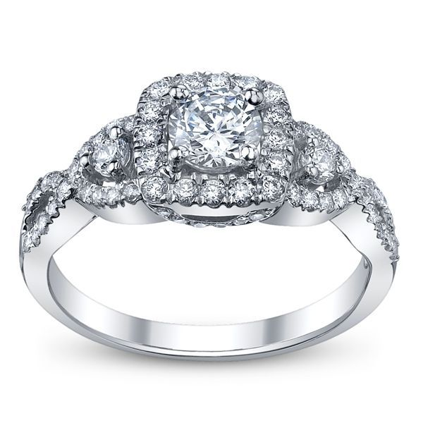 41ab8a099b99e RB Signature 14K White Gold Diamond Engagement Ring Setting 1/2 Cttw ...