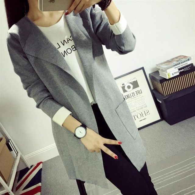 Women sweater 2017 Hot Sale Cardigans New arrival Knitted Pure Color Middle long Coat Model V neck Long sleeve Spring fashion
