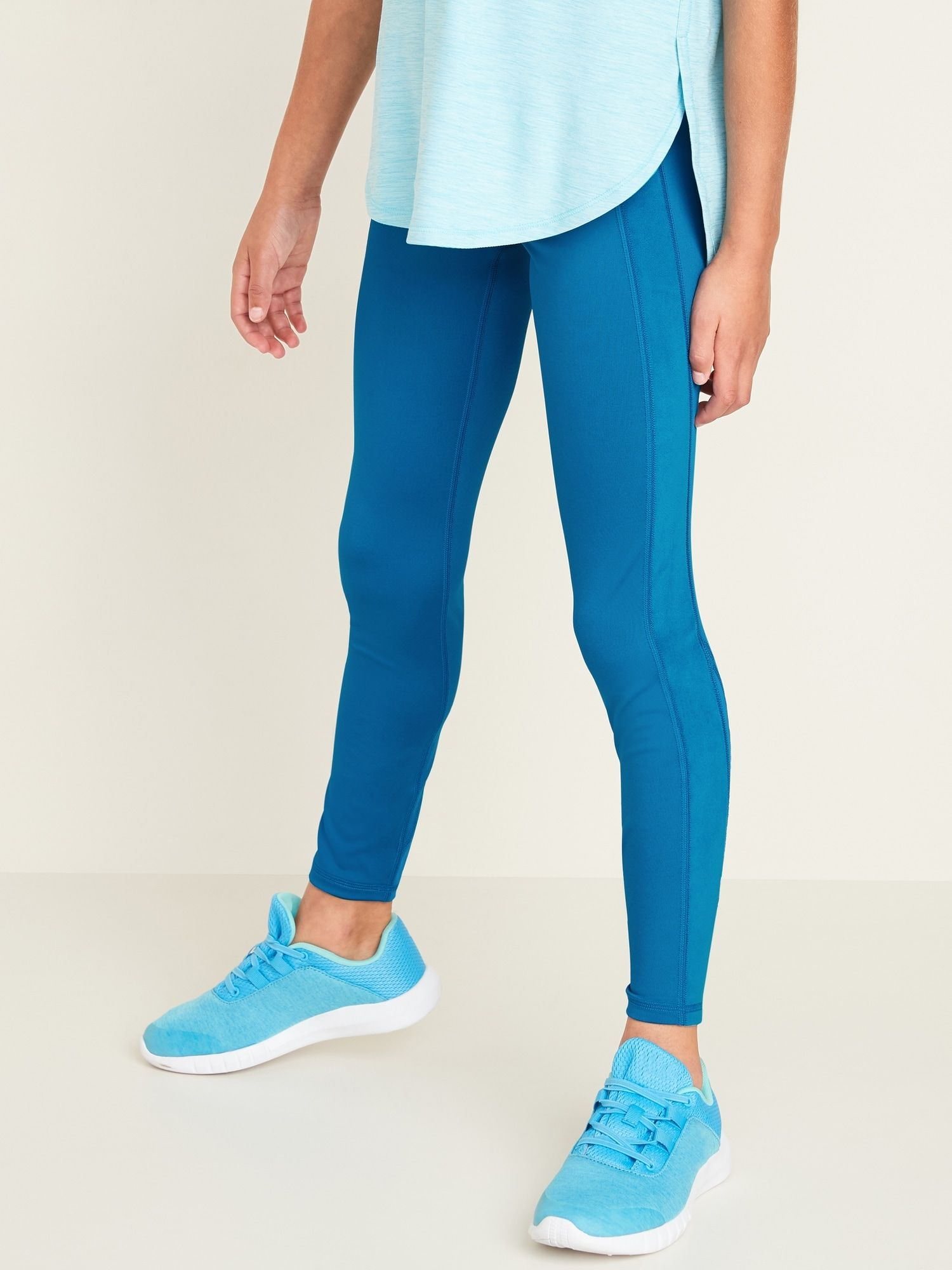 Mid-Rise Go-Dry Elevate Velour-Stripe Leggings for Girls #stripedleggings