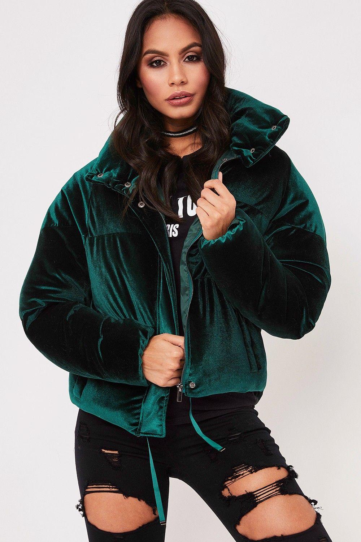 50b3f7246 Zara Green Velvet Puffer Jacket in 2019 | Надо попробовать | Green ...