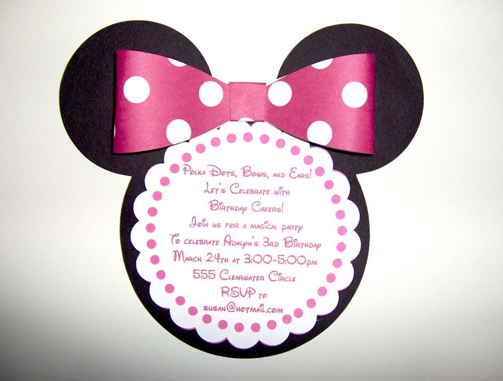 Minnie Mouse Die Cut Invitation in Pink by SilverOrchidGraphics