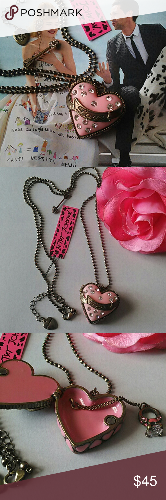 """BJ Heart Locket Necklace Beautiful sentiment of giving your heart! Awesome gift for a man to give his woman on Valentines, Anniversary or any special occasions. It has a crystal ring inside with hearts on it too! A arrow charm with crystals hangs from the chain. So many gift ideas with this one.  LOCKET IS 1 1/8"""" LONG & 1 1/2"""" IN WIDTH Betsey Johnson Jewelry Necklaces"""