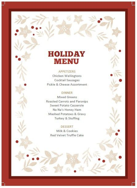 Christmas Party Menu Template Stationary Templates Pinterest