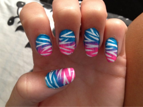 Pink Blue Stripes Cool Nail Art Ideas Nails Pinterest Nagel