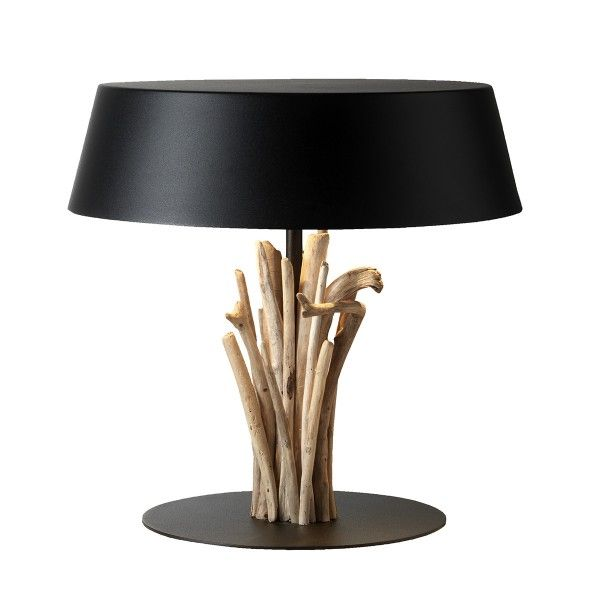 lampe ashevak abat jour et socle m tal laqu noir bois flott driftwood pinterest. Black Bedroom Furniture Sets. Home Design Ideas