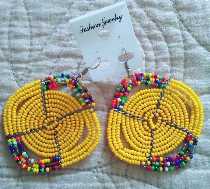 African-Kenya Maasai Handmade Seed Beads Dangle Earrings