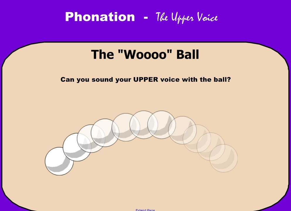 "Visual for the vocal training activity.  I use a type of ""koosh"" ball to toss from teacher to student using ""woo"" as it makes an arch through the air.  The student catches the ball and tosses it back to the teacher reproducing the same vowel.  (thanks Phyllis Braund)"