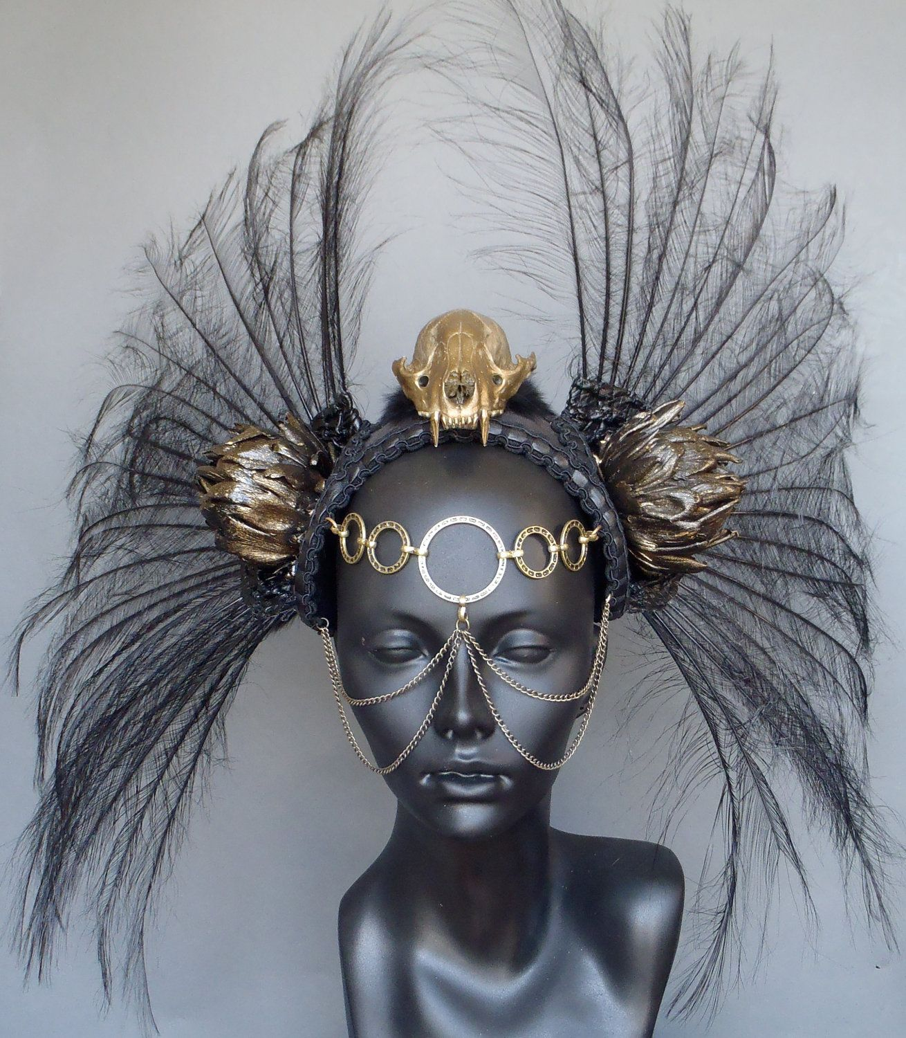 MADE TO ORDER Gold Skull & Black Feather Headdress Warrior ...