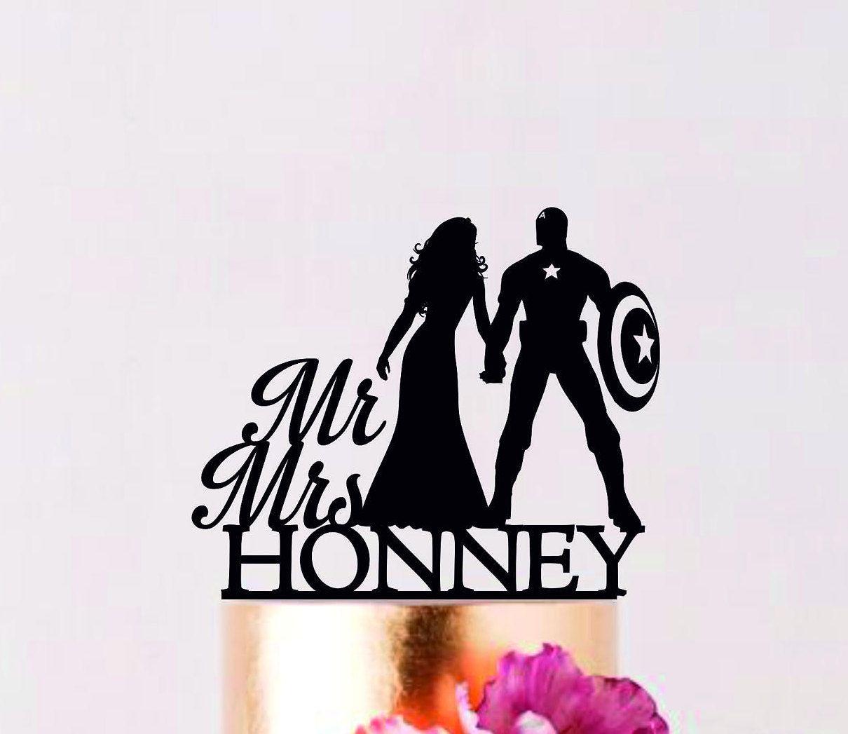 Captain America Cake Topper, Superhero Wedding Cake Topper ...