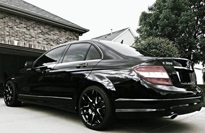 Black mercedes c300 with gloss black and milled accents for Mercedes benz c300 black rims
