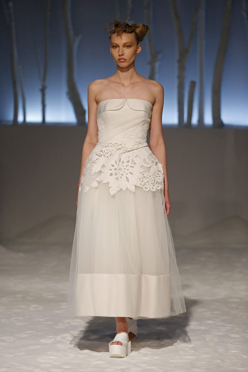 David fielden sposa global journey tea length wedding dress